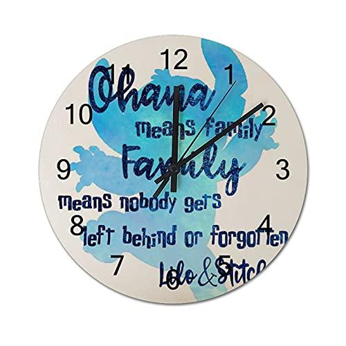 Reloj de Pared ,Ohana Significa Familia, Relojes de Pared Digitales de Madera Que no Hacen tictac, Funcionan con Pilas, decoración Sala de Estar, Dormitorio, Aula, Oficina (12 Pulgadas).