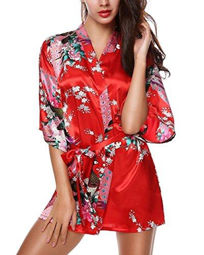 E-darter Paon Cardigan Robe de chambre - Satin Soyeux Peignoir Court Kimono Soie Femme ,M,Rouge