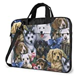 Waterproof Fabric Laptop Shoulder Bag Adorable Dogs Family Notebook Sleeve Case, Shockproof Carrying Briefcase Sleeve with Organizer Pocket, Carrying Handle Compatible MacBook 15.6 Inch