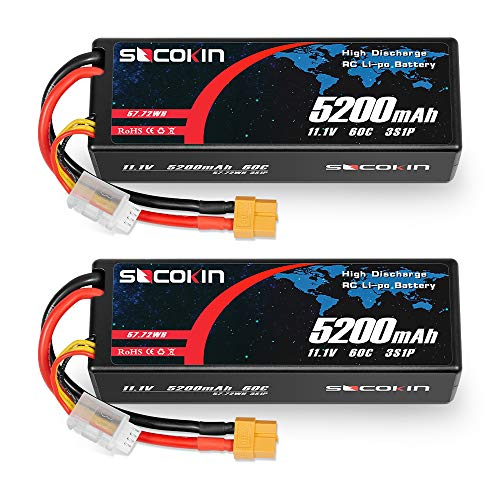 Socokin 11.1V Lipo Battery 3S 5200mAh 60C with Hard Case XT60 Plug for RC Model Redcat Racing, RC Racing Car Heli Airplane Quadcopter Helicopter etc (2 Pack)