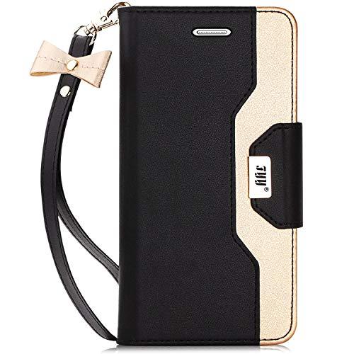 FYY Galaxy S7 Edge hülle,Samsung S7 Edge Handyhülle,PU Ledertasche Standfunktion Unterstützte Telefone mit Einem Magnetverschluss,Telefone Spiegel und Ledertasche für Galaxy S7 Edge case cover,Schwarz