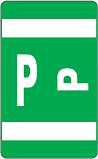 Smead AlphaZ ACCS Color-Coded Alphabetic Labels, Letter P, Dark Green, 100 Labels per Pack (67186)