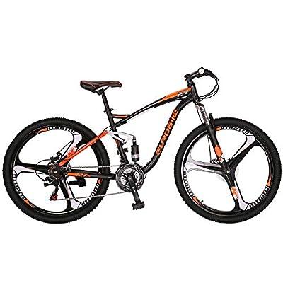 """OBK Eurobike E7 Full Suspension Mountain Bike 21 Speed Bicycle 27.5"""" Mens Bikes Disc Brakes MTB (Orange)"""