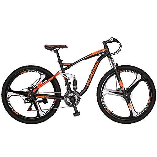 Full Suspension Mountain Bike 21 Speed Bicycle 27.5 inches Mens MTB Disc Brakes Orange (E7 3 Spoke mag Wheels Orange)