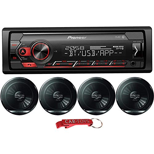 Pioneer MVH-S320BT 1-Din in-Dash Car Stereo Music Lover's Bundle with Four 6.5' Coaxial Speakers. Digital Media Receiver with Bluetooth, Adjustable Colors, Smartphone Control, Pandora and Spotify