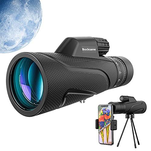 Bocksane Zoom Monokulare Teleskop (6~18) x50 Starscope, Zoom 12x50 HD Monokular FMC BAK4 Fernrohr beschlagfest mit Smartphone Adapter Stativ für Vogelbeobachtung, Jagd