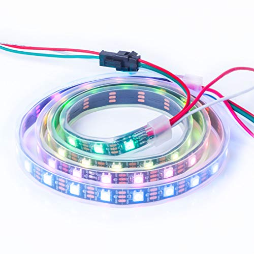 BTF-LIGHTING WS2812B Alambres de aleación ECO RGB 5050SMD Direccionable individual 3.3FT 60 píxeles/m PCB negro flexible Full Color LED Píxel tira LED Sueño Color IP67 impermeable DC5V