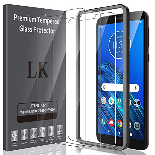LK[3Pack]ScreenProtectorforMotorola Moto E6 Tempered Glass HD Clear (Easy Installation Tray) Case Friendly Bubble Free