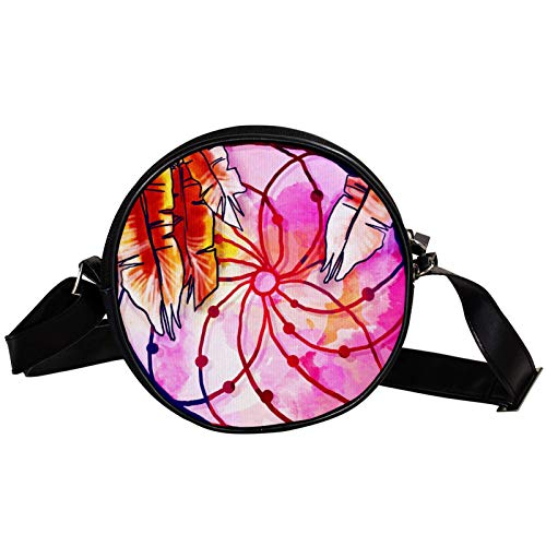Bandolera redonda pequeña bolso de mano para mujer, bolso de hombro de moda, bolso de mensajero de lona, bolsa de cintura, accesorios para mujer, bohemio, atrapasueños, rosa, hippie