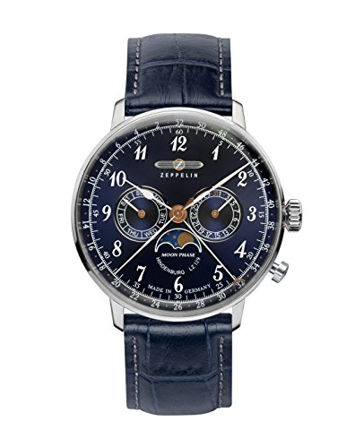Graf Zeppelin Hindenburg Swiss Quartz Moonphase Calendar Dress Watch 7036-3