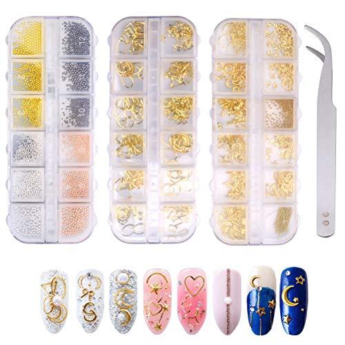 Strass Pour Nail Art, 2900 Pcs Perle Nail Art Décorations d'Ongles 3D Brillant Paillettes Nail Art Avec 1 Pièce Pince à Épiler Pour Décoration Des Ongle