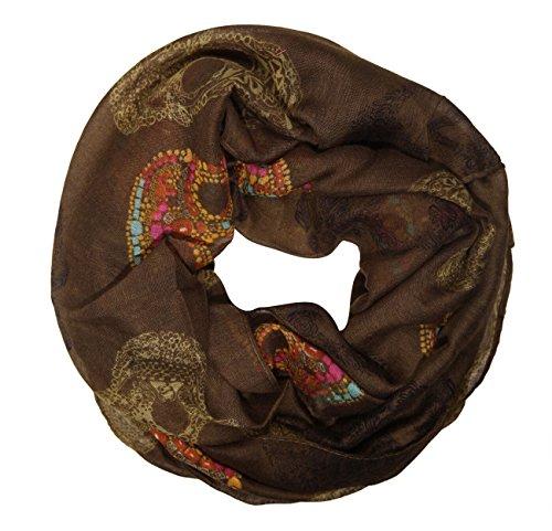 MANUMAR Bufanda de lazo para mujer | bufanda de cuello en diferentes colores con motivo de cráneo como accesorio perfecto para el otoño y el invierno | bufanda de tubo | idea de regalo para mujer