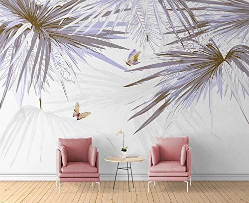 Wallpaper 3D Mural for Walls Abstract Palm Leaf Butterfly Wall Decoration 3D Wallpapers for Walls Murals