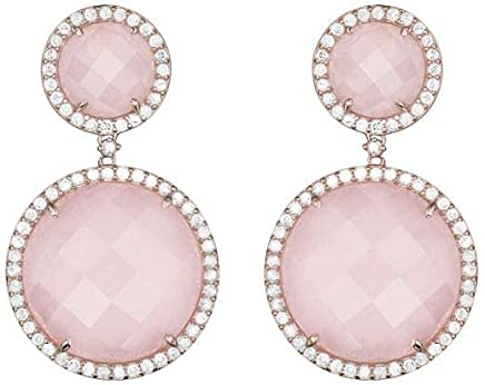 Brinco em Ouro Rosé 18K com Diamante, Quartzo Rosa - VERSALHES