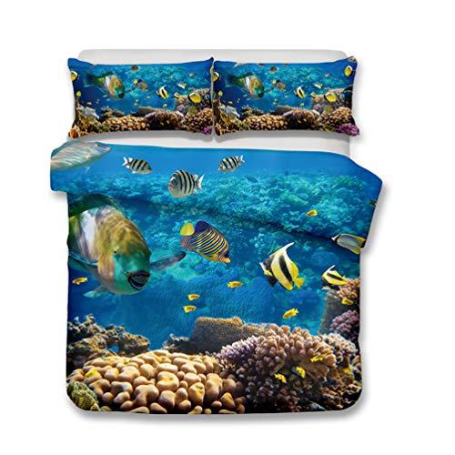 Coral de peces del mundo subacuático 3d Series Ropa de cama - funda nórdica y funda de almohada, Ropa de cama Tres piezas (funda nórdica + 2 fundas de almohada) , hipoalergénico,single, double bed