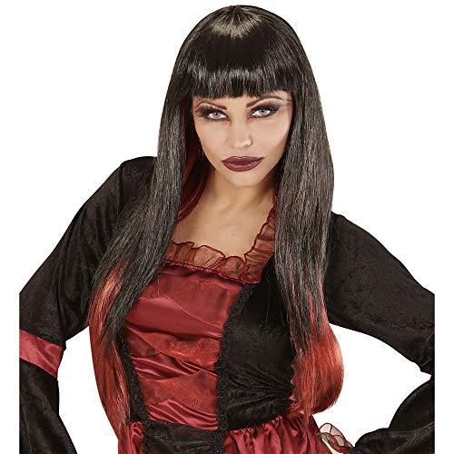 Zwarte vampier pruik met rode punten