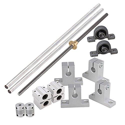BQLZR Horizontal lineal de 300 mm de eje ¨ptico y 8 mm varillas de plomo con tuercas Linear Slide bloque y Stepper Acoplador Dual Rail Support Set