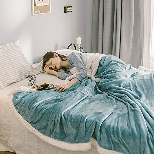 Amosiwallart Kuscheldecke - Verschiedene Größen & Farben - Microfaserdecke Wohn-Decke Tagesdecke - Flanell Mikrofaser-Flausch -Azurblau_150 × 200 cm