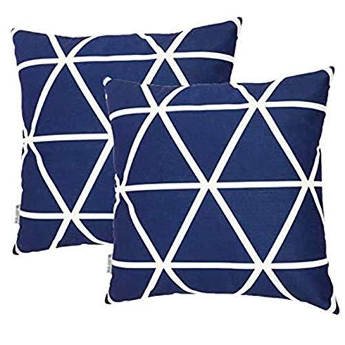 TIDWIACE Fundas de Cojín, Funda de Almohada Lino de algodón Decorativa Geometría Moderna Funda de Cojín 45x45cm para Sala de Estar sofás Camas sillas Dormitorio Jardín Coche,Azul Set de 2