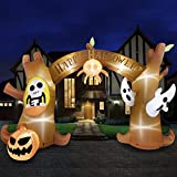 HOOJO 14 FT Wide Halloween Inflatables Tree Archway with Pumpkins and Ghost Outdoor Halloween Decorations, Build-in LEDs, Blow up Halloween Party Decorations for Yard, Garden, and Lawn