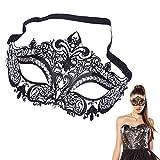 Sexy Schwarz Metall Venezianische Maske mit weißen Strass