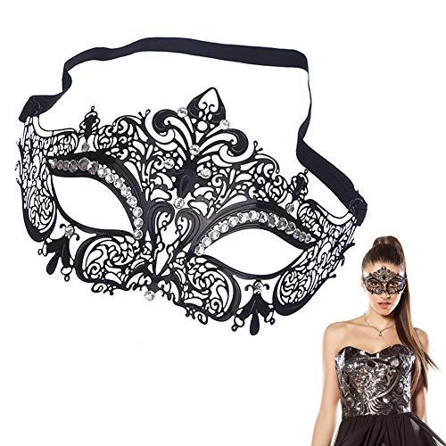EQLEF® Sexy Schwarz Metall Venezianische Maske mit weißen Strass Masquerade Halloween Cosplay Partei (Typ 1)