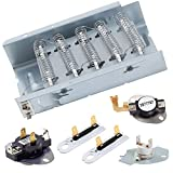 279838 Dryer Heating Element for Whirlpool Kenmore Roper Dryer Heating Element Parts(3977393&3977767&3392519&3387134)3387134, 3977767 Dryer Thermostat Replacement Kit&3977393 ,3392519(2 PCS)Thermal Fuse (Replaces 8565582,AP309425,3398064,3403585)