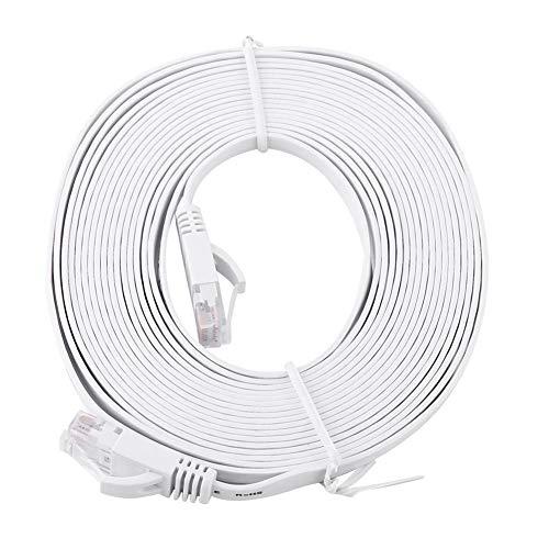 Pangdingk Cable portátil, Cable Plano Blanco de Baja diafonía de 1000 Mbps, para computadora de Escritorio de Oficina en casa(5M)