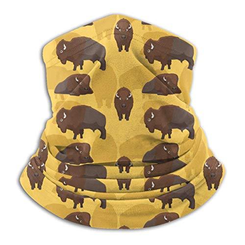 Lawenp Sciarpa per scaldacollo scaldacollo con motivo a cartoni animati di bisonte americano per unisex