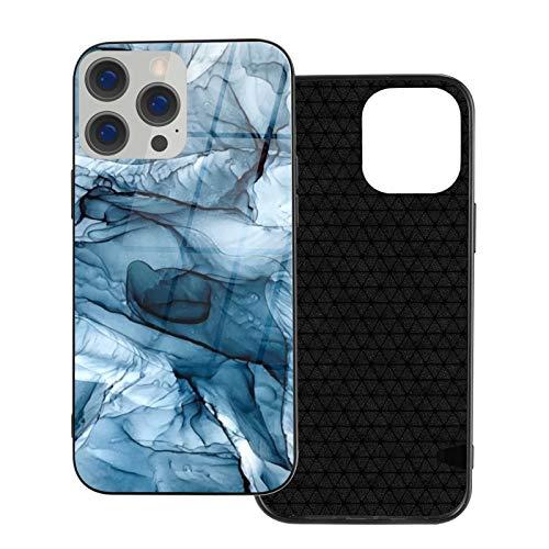 Compatible con iPhone 12 Pro Max, carcasa resistente de cuerpo completo, funda de vidrio TPU suave para iPhone 12 Pro Max 6.7 pulgadas, pintura abstracta de olas de océano azul