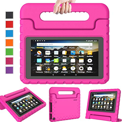 LTROP Case Fits All-New Amazon Fire 7 Tablet (9th Generation, 2019 Release only), Lightweight Shockproof EVA Kids Friendly Convertible Stand Handle Protective Cover Fits Fire 7 2019 Tablet - Rose