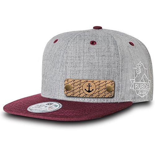 RUBDE Cap2 | Individuelle Snapback Cap Basecap Kappe mit Lederpatch, NFC-Sticker und QR-Code Größen - personalisierbar | Unisex - Herren Damen Kinder Kids | Bordeaux Rot XS
