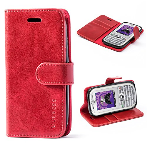 Mulbess Cell Phone Cover for Motorola Moto E 2nd Gen Case, Folio Flip Leather Phone Wallet for Motorola Moto E 2nd Generation 2015 Phone Case, Wine Red