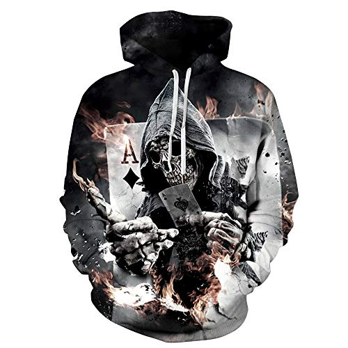 Novelty Graphic Hoodies for Kids Teens Boys Girls, Couple Hoodie 3D Print Hooded Kangaroo Pocket Unisex Sweater Sweatshirt Coat Tops Playing Cards Printing Women Men Pullover