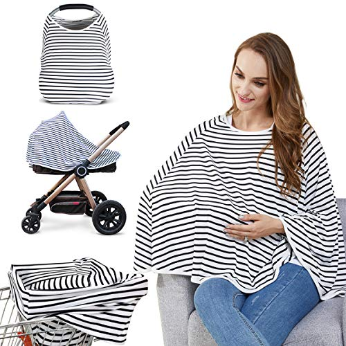 Baby Nursing Cover & Nursing Poncho - Multi Use Cover for Baby Car Seat Canopy, Shopping Cart Cover, Stroller Cover, 360° Full Privacy Breastfeeding Coverage, Baby Shower Gifts for Boy&Girl