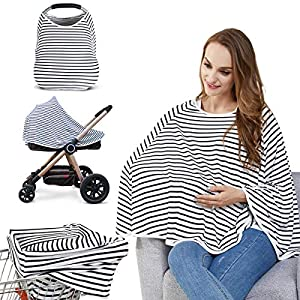 Baby Nursing Cover & Nursing Poncho – Multi Use Cover for Baby Car Seat Canopy, Shopping Cart Cover, Stroller Cover, 360° Full Privacy Breastfeeding Coverage, Baby Shower Gifts for Boy&Girl