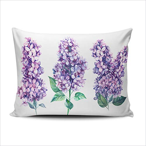 Hoooottle Custom Purple Flowers Lilac Botanical Decorative Pillowcase Throw Pillow Case Cover Zippered Lumbar One Side Printed 12x20 Inches