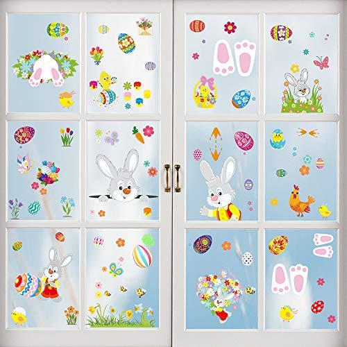 Fenstersticker Ostern, Fensterdekoration Ostern, Fensterbilder Häscheneier Frühlings Ostern, Osterfenster Klammert Sich an Aufkleber Hase Ostereier (9 Aufkleber)