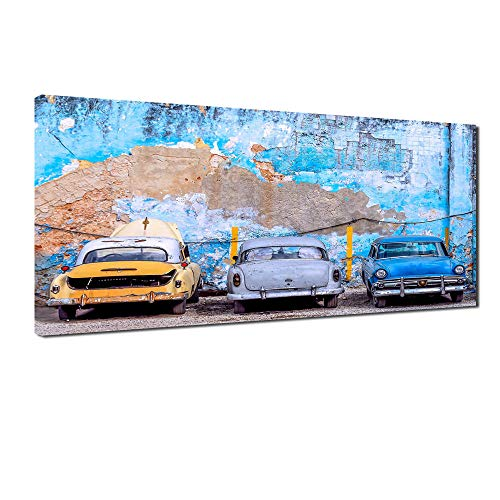 IGNIUBI HD printing moderne gigantische sjabloon 3 retro auto's voor thuis woonkamer studie decoratie Blauwe auto geverfde canvas-40x120cm geen frame