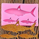 YAJIAO Molde De Llaveros De Silicona De Tiburón Brillante, Llavero Colgante, Arcilla, Fabricación De Joyas DIY, Moldes De Resina Epoxi