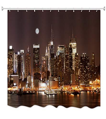 A.Monamour Cortina de Ducha Antimoho Impermeable Lavable Tela Horizonte De Manhattan por La Noche Ciudad Nueva York Poliéster Cortinas de Baño con Ganchos 150x180 cm
