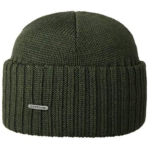 Stetson Northport Wintermütze aus Merinowolle - Mütze Made in Italy - Seemannsmütze für Damen/Herren - Wollmütze Herbst/Winter - Merinomütze Oliv One Size