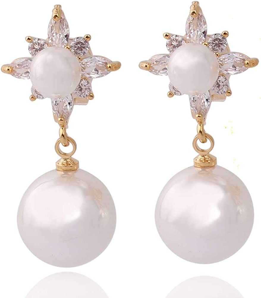 HAPPYAN High-grade AAA CZ Pearl Clip on Earrings No Pierced for Women Party Wedding Anti-Allergy Ear Clip New