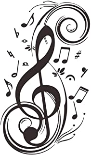 Musical Notes Wall Stickers Decals DIY Vinyl Removable Music Sign Letter Home Decor Stickers Large Graphic Clef Wall Mural for Teen Boys Girls Kids Bedroom Living Room Music Room Dance Room Vinyl Art