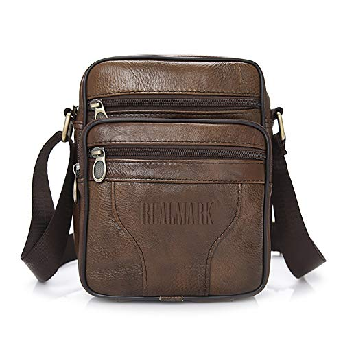 Realmark Men`s Genuine Leather Crossbody Bag Messenger Shoulder Bag Business Purse Bag