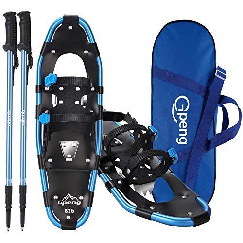 Gpeng 3-in-1 Xtreme Lightweight Terrain Snowshoes for Men Women Youth Kids, Light Weight Aluminum Alloy Terrain Snow Shoes with Trekking Poles and Carrying Tote Bag (Blue, 25 inch)