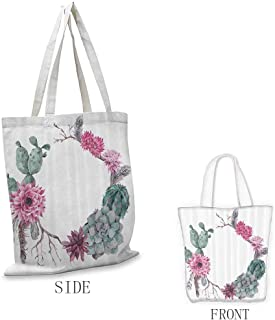 Ladies casual canvas bag Succulent Summer Vintage Floral Wreath Boho Chic Style Branches Feathers Doll bag Sage Green Light Pink Mauve