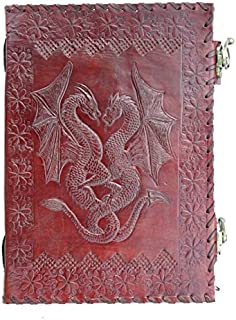 QualityArt Handmade Leather Journal Double Dragon 2 Latches Embossed Diary Notebook Sketchbook 10x7
