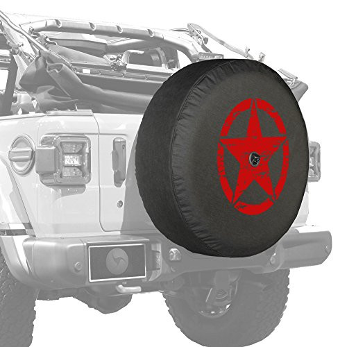 Boomerang - Distressed Star (Red Print) - 32' Soft JL Tire Cover for Jeep Wrangler JL (with Back-up Camera) - Sport & Sahara (2018-2021) - Made in The USA
