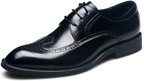 Les Les Hommes intelligents Mariage Formelle Robe Oxfords Cuir Noir Brogue Chaussures à Lacets Affaires Office Travail Toe Bout Pointu Derby Bas  100% garantie d'ajustement